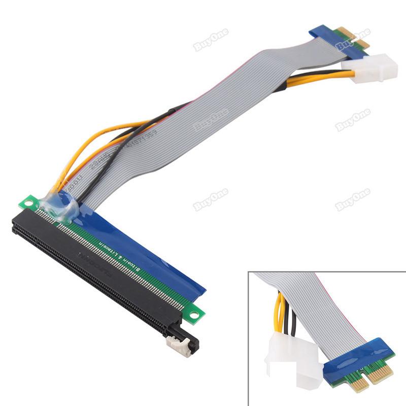 Verydeal Original PCI Express PCI-E 1X To 16X Riser Card Flex Extension Cable + Power Connector Assurance(China (Mainland))