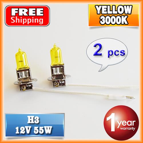2 PCS(1 Pair) 12V 55W Yellow H3 Halogen Lamp 3000K HeadLight Xenon Glass Replacement Car Light Auto Bulb FREE SHIPPING(China (Mainland))