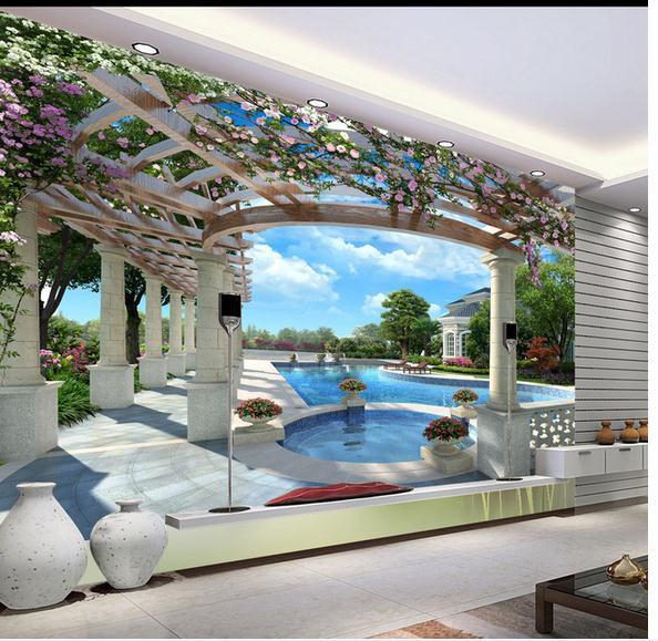Selbstklebende Tapete Test : Anpassen tapete papel de parede 3d Pool Kulisse Luxus-Villa Raum 3d