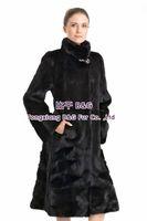 BG70792 Expensive Women's Long Mink Fur Caot Black Color Big Button Clothes Warm In Russian Winter OEM 4XL 5XL