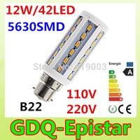 2pcs LED Corn bulb light B22 42LEDS 12W 110V 220V White/Warm White lamp Spot light Energy saving lamps High Bright 360 degree