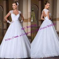New Arrival 2015 Custom Made Fashionable Sexy A Line Short Sleeve Beaded Floor Length Backless Wedding Dress vestidos de novia
