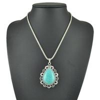 Fashion Jewelry Wholesale New 2015 Tibetan Vintage Bohemia Turquoise Bead Stone Silver Long Pendant Necklace For Women