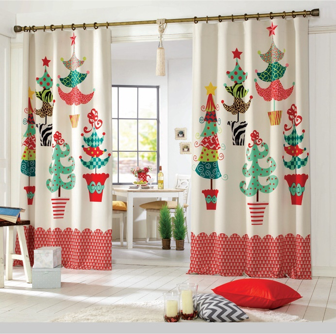 Keukendeur Kopen : Christmas Tree Kitchen Curtains