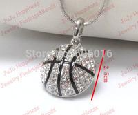 One piece fashion alloy crystal 2.5cm basketball pendant rhinestone snake necklace free shipping xy067-1