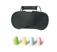 F04603-A 1Piece Bamboo Charcoal Sleeping Eye Cover Patch Eyeshade + 5 Pairs Soft Foam Anti-noise Ear Plug for Travel Freeship