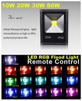 1X10W 20W 30W 50W LED RGB Color Spotlight Flood Light 85-265V Remote Control Garden Outdoor Ligh Lamp Waterproof