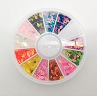 12 Colors Boat Sequin Shape Nail Art Rainbow UV Gel Acrylic DIY Wheel