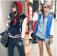 2014 New Fashion Spring Women  Short Design Hitz Korean women fashion baseball uniform collar Sweatshirts