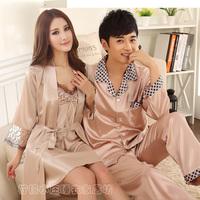 EU Style Spring Summer New Fashion Casual Lovers Silk Plus Size Sleepwear Bathrobe Women Pajamas For Men Pijama