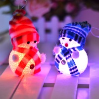 Free Shipping 2pcs/lot  2014 NEW Christmas decoration plastic Scarf light Snowman doll christmas ornament light snowman