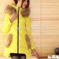 Sale Hot Women winter Hooded jacket Long Style Large fur collar Zipper Slim Thicken coat Women duck down jacket