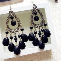 European and American retro national wind wholesale hollow droplets tassel earrings,earrings for women,red earrings,long earings