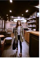 Autumn 2014 Korean female Korean temperament coat lapel loose in the long section of the new women's windbreaker jacket