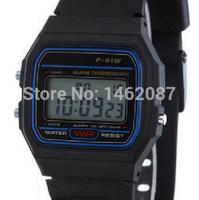high quality luminous led electronic F-91W watch waterproof child watch chronograph sports movement watch