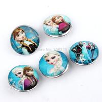 50pcs/lot 18mm New Arrival Frozen Elsa Anna Nice Glass Snap Buttons Fit DIY Bracelets Necklace Making