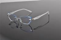 WOMEN RIMLESS PRESCRIPTION EYEGLASSES CAT EYE CUT DIAMOND OPTICAL EYE GLASS EYEWEAR CRYSTAL LENS METAL FRAME GLASSES 58010