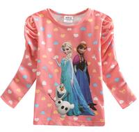 Girls Frozen Long Sleeve T Shirt Girl Autumn 100%Cotton T-shirt Baby & Kids Frozen Girl T Shirt New Stock Frozen Christmas Tops