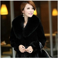 2014 Women outerwear medium-long faux fox fur patchwork mink overcoat