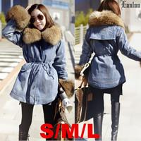 Lanluu New Brand Jeans Winter Coat Big Fur Wool Liner Parkas 2014 Women's Denim Jackets Coats SQ1059