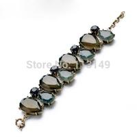 Luxury Retro Vintage Smoky Gray Blue Water Drop Acrylic Imitation Gemstone Exaggerated Female Bracelet Bangle Pulseiras PSB-S043