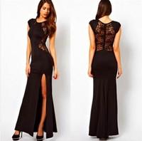 Europe women split long dress with back lace sexy nightclub party dress