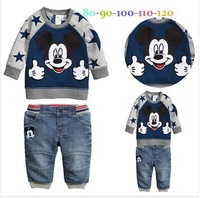 well-selling new spring baby boys cartoon sets fation sweater 2pcs mickey sweatshirt +pants s246