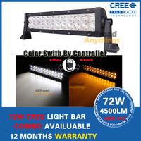 "13.5"" 72W Cree Light Bar Offroad Fog Driving Cree LED Color Switch by Control 4x4 SUV Bar UTV ATV 12V 24V Led Working Light Bars"