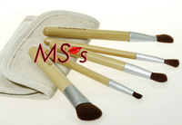 Hot!!5pcs/lot  Beige Bamboo Brush make up tools kit Cosmetic Beauty Makeup Brush Sets with Beige Pouch in mirror Gift Wholesale