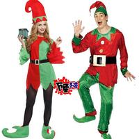 Hot 2014 Adult Sexy Men Women Christmas Elf Cosplay Costumes Dress