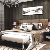 Solid color plain brief bedroom wall wallpapers modern non-woven tv wall paper roll Mould-Proof papel pintado tapete