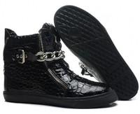 GZ origianl punk genuine leather black flat Stone grain iron chain men and women lovers sneakers,EUR 35-45,brand tenis shoes