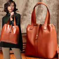 New Arrival 2014 Genuine leather women handbag fashion all-match cowhide bucket bag Euramerican women shoulder bag lady tote