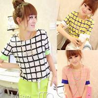 2014 spring fashion plaid chiffon patchwork T-shirt o-neck short-sleeve shirt basic shirt