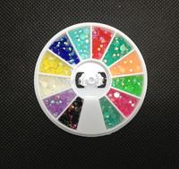 3mm Jelly Beads Gems 12 Colors Acrylic UV Gel Tips Decoration Wheel