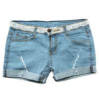 Free Shipping Women's Denim Light Wash Short Jeans Skinny Sexy Shorts Stunning Lacing Folded Hem Classic Five Pockets 2 Style