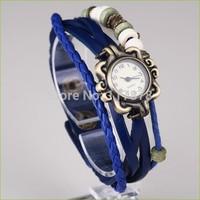 Vintage Watches Leather Strap Casual Watch hours Quartz watches bronze hours bracelet watch