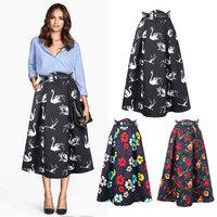 Woolen Long Skirt Floral Printed New Fahsion 2015 Spring Summer Vintage High Waist Pleated Ball Gown Mid-Calf Women Skirt 14115