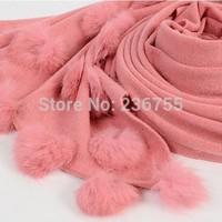 1 Piece Fashion Korean Style New Imitated Cashmere Rabbit Fur Ball Scarf Wool Shawl Warm color Winter Cotton Wraps 508