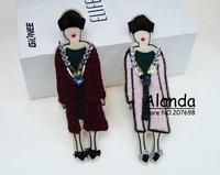12pcs/lot Fashion Cute Cartoon Lady Brooch Feminine lady crystal hair pin 81097 free shipping (burgundy, black)