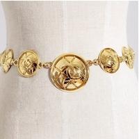 women brand wide metal plate cummerbunds women waist chain can be used as necklace