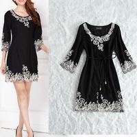 Fashion European Style Women Elegant Black Dresses Long Sleeve Wool Warm Dresses Cheap Women Clothing Free Shipping W22847