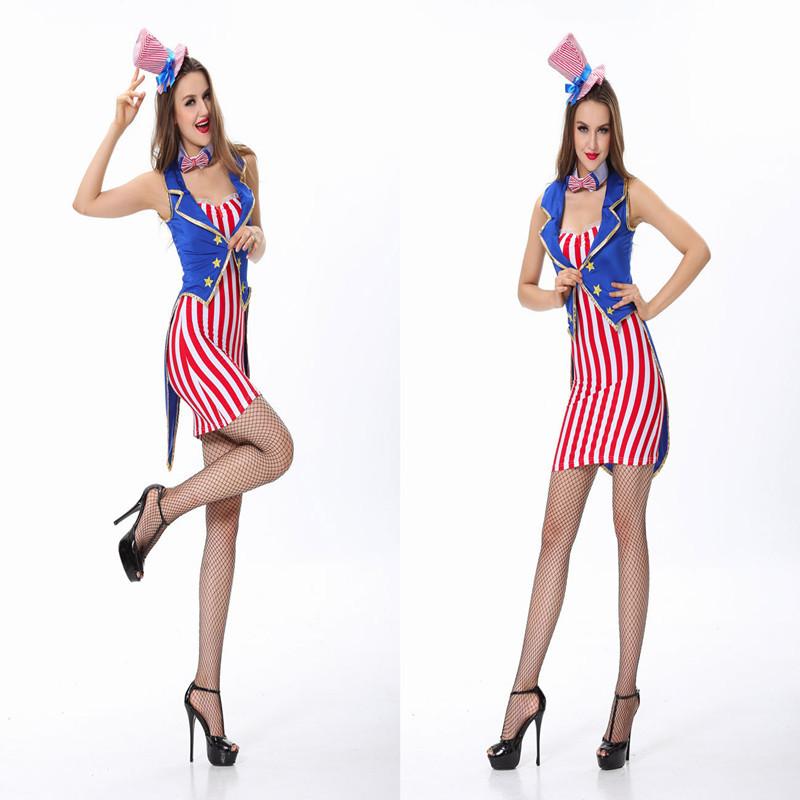 2014 Top Fashion Real Adult Halloween Tuxedo Trainer Uniforms Bar Usa Frag Nightclub Magician Costume Costumes Female Jazz Ds(China (Mainland))