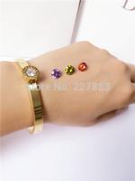 5 pcs/lot Wholesale Valentine Gift 18k gold color with 4 colorful zirconiaTitanium steel Love bangle bracelet