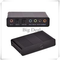 Free HK USB External Sound Card USB 5 Channel 5.1 Virtual 7.1 Optical Fiber Audio Sound Card S/PDIF Exter for Laptop Computer