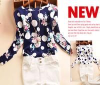 Women tops and blouses 2014 new fashion free shipping fall O-neck slim printed blusa manga longa sweet pulover WB162