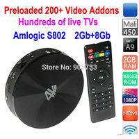 Amlogic S802 Quad Core 2GHz, S82B Android TV Box  2G/8G Mali450 GPU 4K*2K HDMI Bluetooth, XBMC Fully Loaded, watch free live TVs