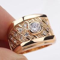 Mesh modeling 18k Yellow Gold Filled Mens Womens  Ring SZ10 Zircon Wedding Rings GF Jewelry Wedding Jewelry Free S/H