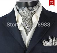 New Fashion Paisley Silk Pocket Square + Silk Ascot Tie Set Cravat Tie Set Grey Color #CV33