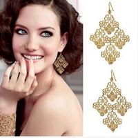 European and American bohemian romantic openwork gold leaf / classic black earrings,earrings for women,red earrings,long earings